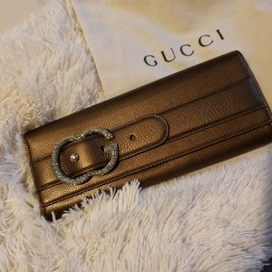 Authentic Gucci Crystal GG Leather Clutch